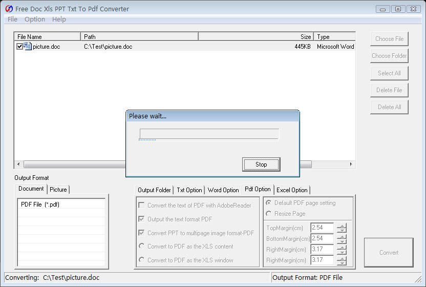 Click to view Free Doc Xls PPT Txt To Pdf Converter screenshots