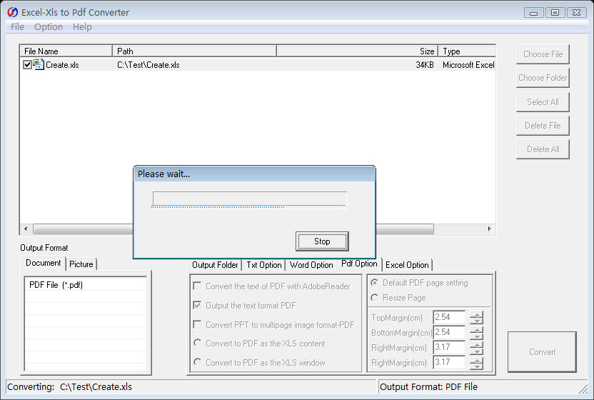 Click to view Excel/Xls to Pdf Converter screenshots